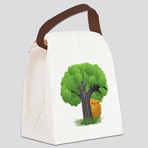 Woolly Moo behind tree Canvas Lunch Bag