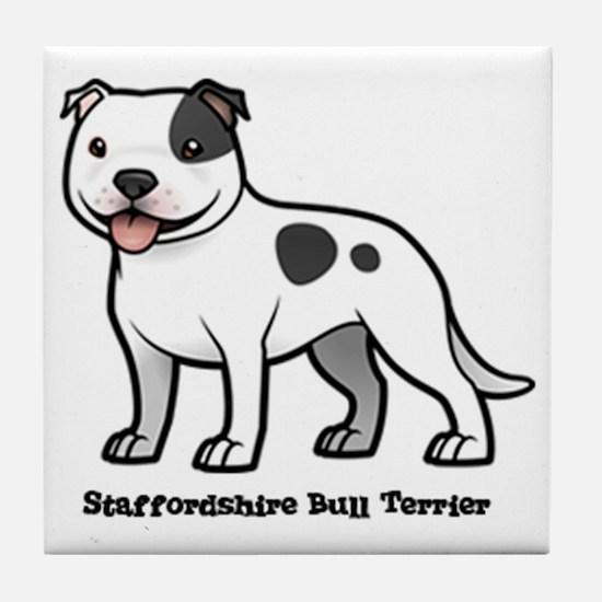 Cute Staffordshire terrier Tile Coaster