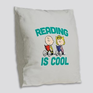 Charlie & Sally Brown-Reading Burlap Throw Pillow