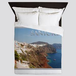 Oia Greece Santorini Island Travel Queen Duvet