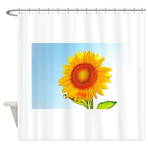 Blue Sunflower Shower Curtains