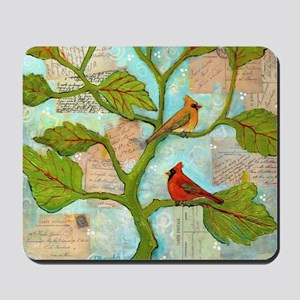 Cardinal Birds Love Notes Mousepad