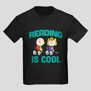 Charlie & Sally Brown-Reading is Kids Dark T-Shirt
