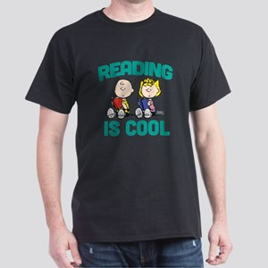 Charlie & Sally Brown-Reading is Cool Dark T-Shirt