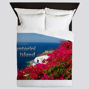 Santorini Greece Island Travel Queen Duvet