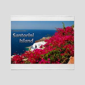 Santorini Greece Island Travel Throw Blanket