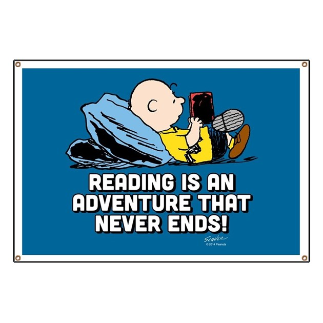 charlie brown   reading is an adventure banner by peanutsstore