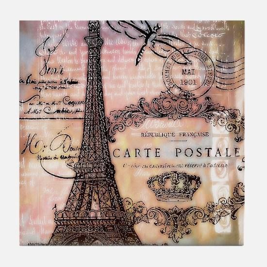 Eiffel tower collage Tile Coaster