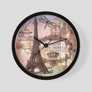 Eiffel tower collage Wall Clock