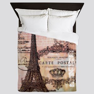 Eiffel tower collage Queen Duvet