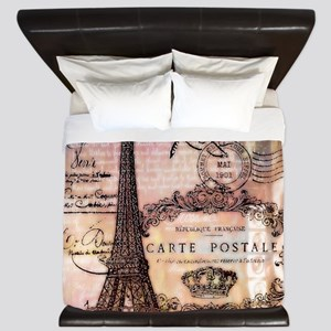 Eiffel tower collage King Duvet