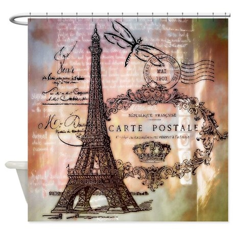 1342083293 CafePress Modern Vintage French Dragonfly Shower Curtain