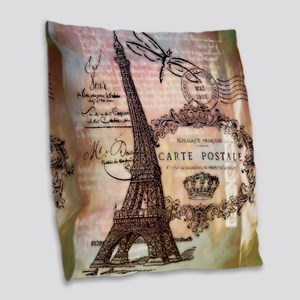 Eiffel tower collage Burlap Throw Pillow