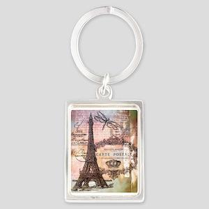 Eiffel tower collage Keychains