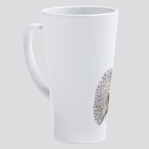 Purple Graphic Peacock 17 Oz Latte Mug