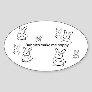 Bunnies Make Me Hoppy Oval Sticker