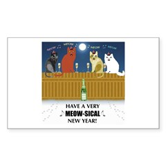 Meow-sical New Year Rectangle Decal