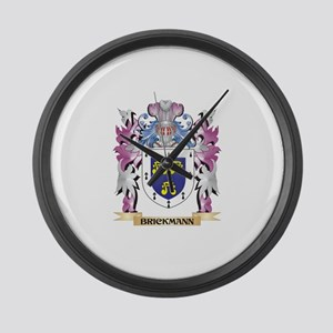 Brickmann Coat of Arms (Family Cr Large Wall Clock