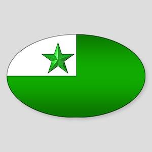 Esperanto Flag Jewel Oval Sticker