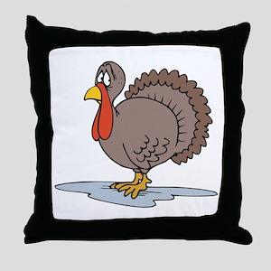 Sad Little Turkey Throw Pillow