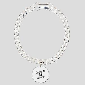 Cheers To 24 Years Birth Charm Bracelet, One Charm