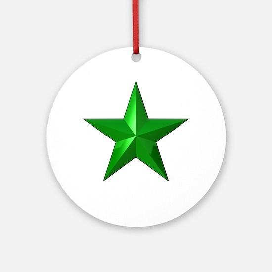 Verda Stelo (Green Star) Ornament (Round)