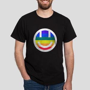 pride rainbow face 2 white round Dark T-Shirt