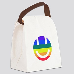 pride rainbow face 2 white round Canvas Lunch Bag