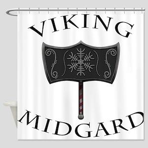 Viking Mjolnir Black Shower Curtain