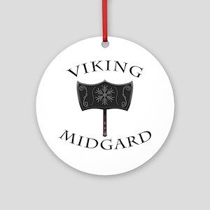 Viking Mjolnir Black Round Ornament