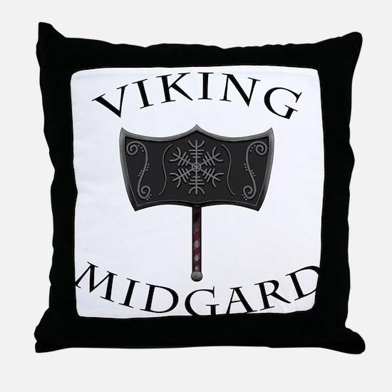 Viking Mjolnir Black Throw Pillow
