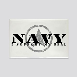 Navy - I Support My Seal Rectangle Magnet