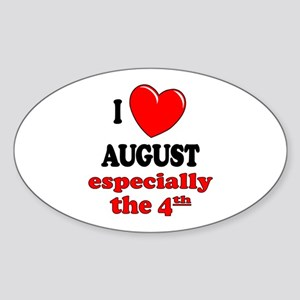 August 4th Oval Sticker