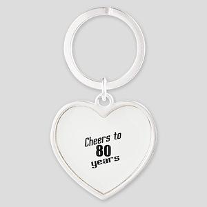 Cheers To 80 Years Heart Keychain