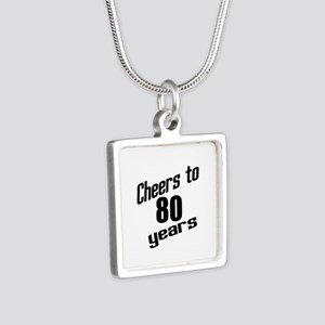 Cheers To 80 Years Silver Square Necklace
