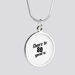 Cheers To 80 Years Silver Round Necklace