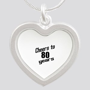 Cheers To 80 Years Silver Heart Necklace