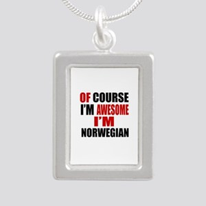 Of Course I Am Norwegian Silver Portrait Necklace