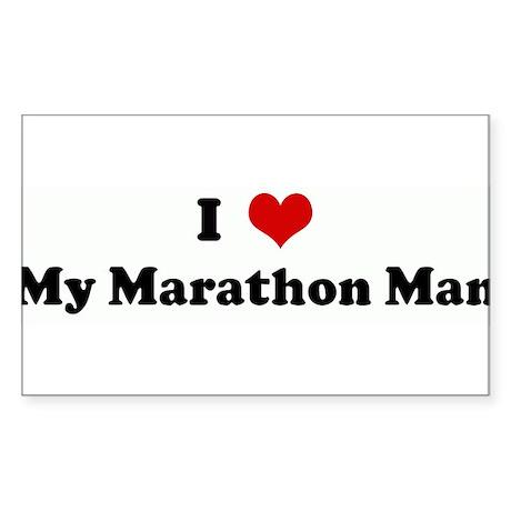 I Love My Marathon Man Rectangle Sticker