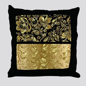 Black and shiny gold print floral dam Throw Pillow