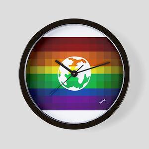 Earth gay rainbow art Wall Clock