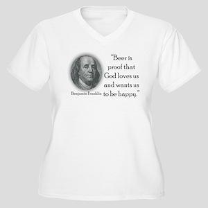 Benjamin Franklin Women's Plus Size V-Neck T-Shirt