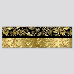 Black and shiny gold print floral d Bumper Sticker