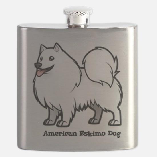 Funny American eskimo dog Flask