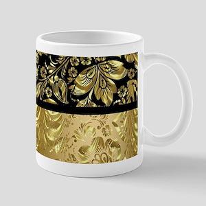 Black and shiny gold print floral damask Mugs