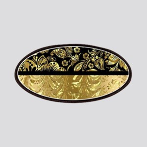 Black and shiny gold print floral damask Patch