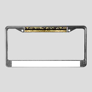 Black and shiny gold print flo License Plate Frame