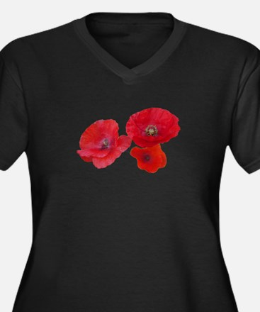 Three lovely red poppy flowers Plus Size T-Shirt
