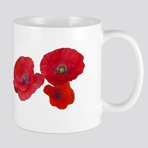 Three lovely red poppy flowers Mugs
