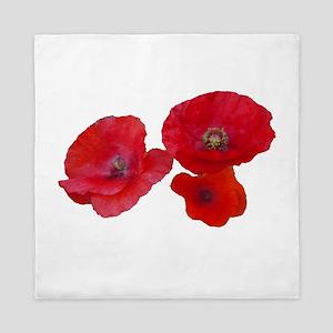 Three lovely red poppy flowers Queen Duvet